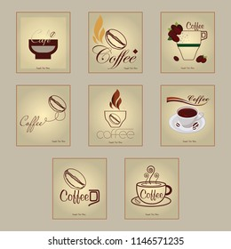 A collection of different coffee cups sign with lettering of coffee, ideal for café and restaurant menu