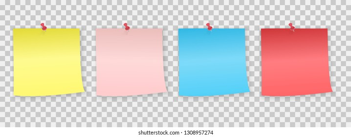 Collection of different Colored Note Paper with pin. sticker pinned red pushbutton with curled corner, ready for your message.