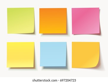 Collection of different colored sheets of note papers with curled corner, ready for your message. Realistic vector illustration. Isolated on white background. Front view. Close up. Set