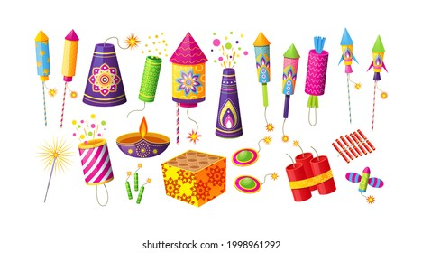 Collection of different firecracker or pyrotechnics rocket. Equipment for fireworks festival or holiday. Feast petard for festival celebration. Festive decoration for Diwali holiday vector cartoon