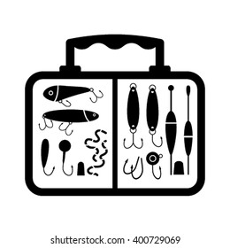 A collection of different fishing gear, designed in a modern style flat vector silhouette. The float, gear, float, rod, fisherman equipment in the box.  collections of fishing tackle.
