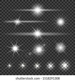 Collection of different flare light effects on transparent background. Vector illustration