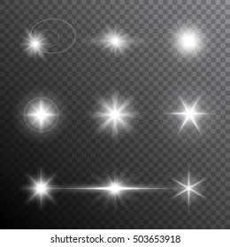 Collection of different flare light effects derived from the direct targeting of the light source of various origins and the forces. Vector transparent light effect