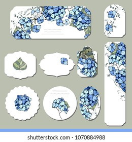 Collection with different floral paper labels for  announcements. Round,square,rectangular, different shapes. Blue hydrangea and wild flowers.