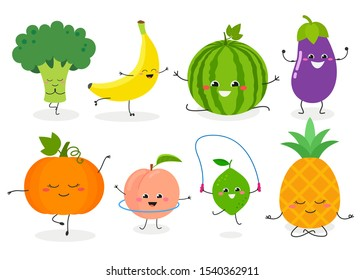 Collection with different funny cartoon fruit and vegetable characters leading sporty lifestyle. Vector flat illustration isolated on white background