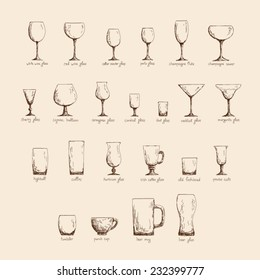 Collection of different glass glasses for different drinks, hand drawn illustration in sketch style, vintage color edition