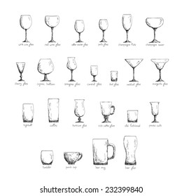 Collection of different glass glasses for different drinks, hand drawn illustration in sketch style, black and white edition