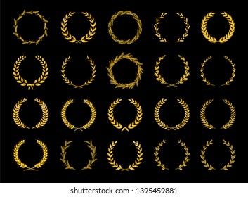Collection of different golden silhouette circular laurel foliate, olive, wheat and oak wreaths depicting an award, achievement, heraldry, nobility. Vector illustration.