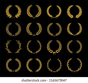 Collection of different golden silhouette laurel foliate, wheat and oak wreaths depicting an award, achievement, heraldry, nobility, game dev. Vector illustration.