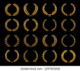 Collection of different golden silhouette laurel foliate wreaths depicting an award, achievement, heraldry, nobility, game dev. Vector illustration.