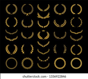 Collection of different golden silhouette laurel foliate, wheat, oak and olive wreaths depicting an award, achievement, heraldry, nobility, game dev. Vector illustration.