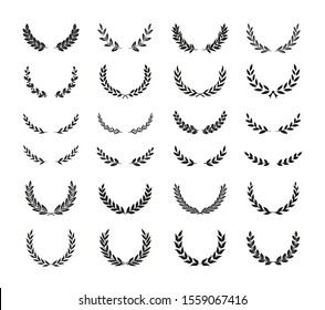 Collection of different golden silhouette laurel foliate, wheat, and olive wreaths depicting an award, achievement, heraldry, nobility, game dev. Vector illustration.