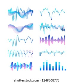 Collection of different gradient colored sound waves, audio or acoustic electronic signals isolated on white background. Bundle of music record or track visualizations. Colorful vector illustration.