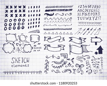 Collection of different graphic vector elements in doodle style. Hand drawn sketches of arrows, speech bubbles, alphabet, numbers, swirls, strokes and other symbols on notebook sheet
