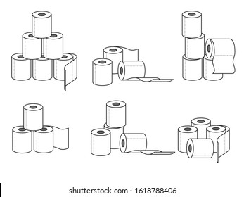 Collection of different groups of toilet paper rolls. Vector illustration