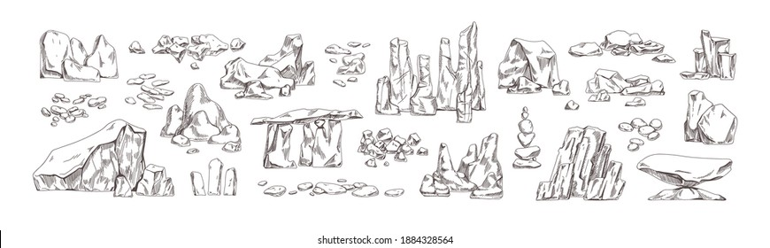 Collection of different hand drawn stones and geological rocks vector illustration in monochrome detailed style. Set of pebble and cobblestone various shapes isolated on white background