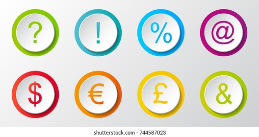 Collection of different icons - currency, interrogation, exclamation, percent and email address. Vector.