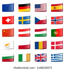 collection of different loop ribbon flags of national countries