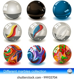 Collection of different marbles - eps 10 images