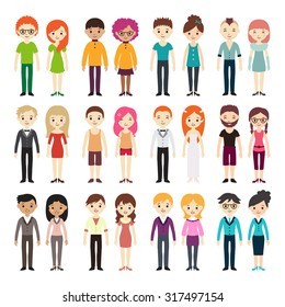 Collection of different men and women in business clothes and free-style. Vector illustration with businessman and businesswoman, flat style.