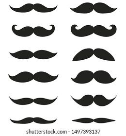 Collection of different mustache and beard of men on a white