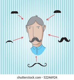 collection of different mustaches