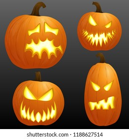 collection of different orange colored illustrated pumpkins for Halloween layouts