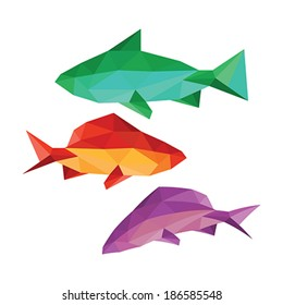 Collection of different origami fish isolated on white background