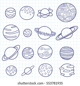 Collection of different outline doodle fantastic space planets isolated on graph paper background.