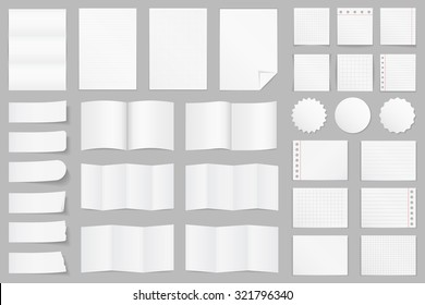 Collection of different paper - A4 paper, folded paper, brochure templates, stickers, notes, vector eps10 illustration