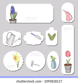 Collection with different paper labels for  announcements. Gardening tools, things for growing plants