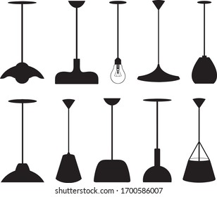 Collection of different pendant lamps isolated on white