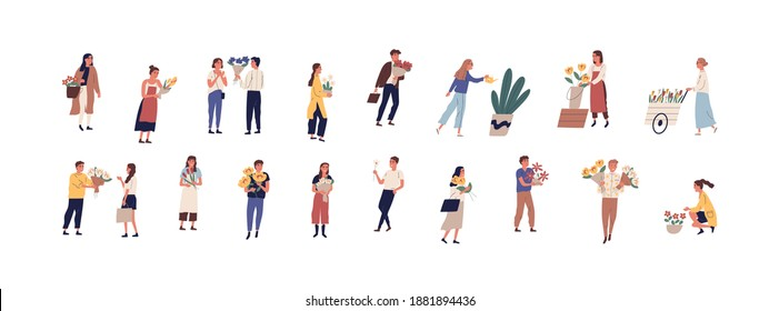 Collection of different people walking on the street with flowers and potted plants vector flat illustration. Set of man and woman holding romantic bouquet, florists caring of plants outdoors