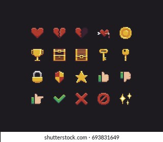 Collection of different pixel art game UI icons
