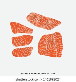 Collection of different salmon pieces and slices. Art for menu decoration. Hand drawn illustrations in flat minimalistic style. Sushi ingredients design.