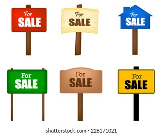 Collection of different shaped sale notice boards isolated on white background