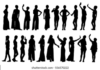 Collection of different short hair woman silhouettes in various lifestyle poses.  Easy editable layered vector illustration.