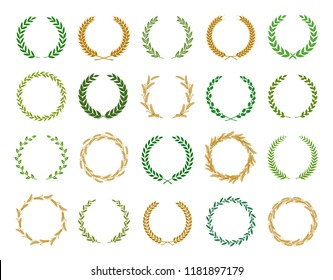 Collection of different silhouette circular laurel foliate, wheat, oak and olive wreaths depicting an award, achievement, heraldry, nobility. Vector illustration.