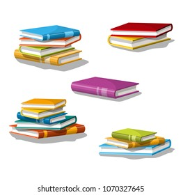 Collection of different stacked books. Isolated on white background.