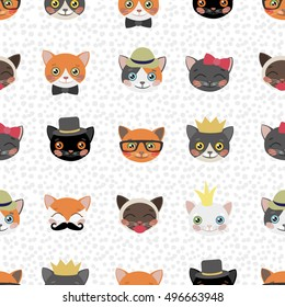 Collection of different styles cat muzzles, flat illustration vector seamless pattern