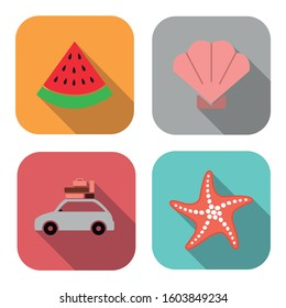 Collection of different summer icons. Shell, watermelon, starfish,and car. Holiday icons.