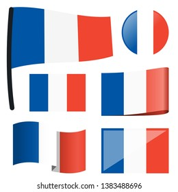 collection of different swung flags of country France