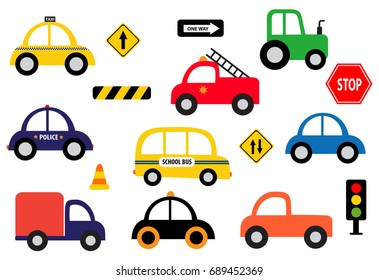 Collection of different toy vehicle clip arts and traffic signs isolated on white background