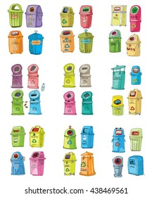 Collection of different trash cans. Organic,batteries,metal,plastic,paper,glass,waste,light bulb,aluminium,food,can,bottle.Vector,recycle bin.Vector. Isolated on white background. Cartoon.