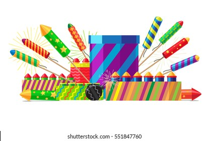 Collection of different types of pyrotechnics on white. Vector illustration of colourful firework rockets in cartoon style flat design. New Year attributes Christmas decorations firecrackers.
