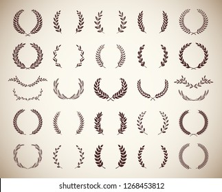 Collection of different vintage silhouette circular laurel foliate, wheat, olive and oak wreaths depicting an award, achievement, heraldry, nobility. Vector illustration.