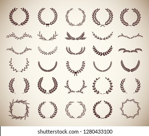 Collection of different vintage silhouette circular laurel foliate, wheat and oak wreaths depicting an award, achievement, heraldry, nobility. Vector illustration.