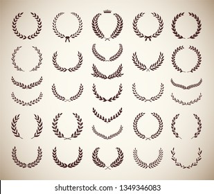 Collection of different vintage silhouette circular laurel foliate, olive and oak wreaths depicting an award, achievement, heraldry, nobility. Vector illustration.