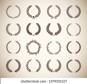 Collection of different vintage silhouette circular laurel foliate, olive, wheat and oak wreaths depicting an award, achievement, heraldry, nobility. Vector illustration.