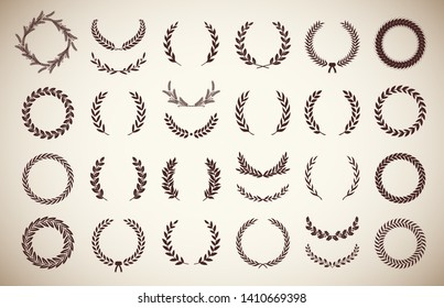 Collection of different vintage silhouette circular laurel foliate, olive and wheaten wreaths depicting an award, achievement, heraldry, nobility. Vector illustration.